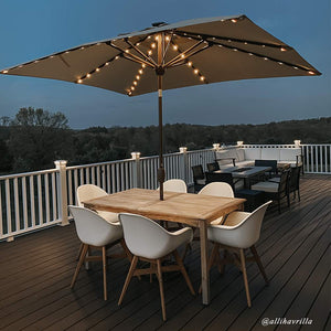 Sorara 9 by 7 Feet Market Umbrella with Solar Powered 128 LED Lights (Cover Included)