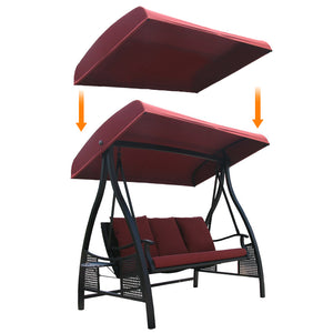 Replacement Top Cover for 3 Person Outdoor Swing Hammock, Red (Frame not Include)