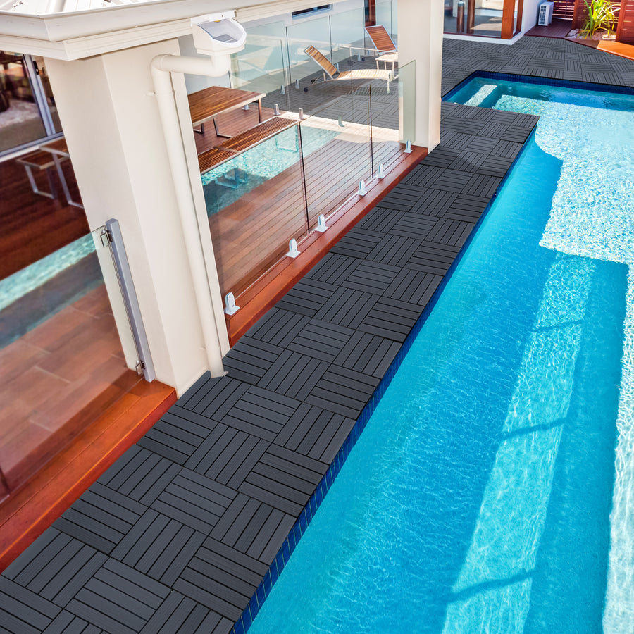 "12.4""x12.4"" Waterproof Decking Interlocking Floor Tiles, 4-Slats Straight Pattern(6 PCS)"