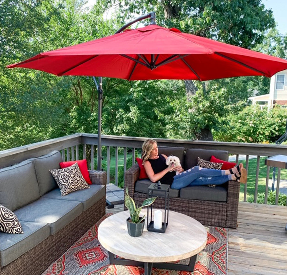 9 Feet Patio Umbrella With Push Button Tilt And Crank