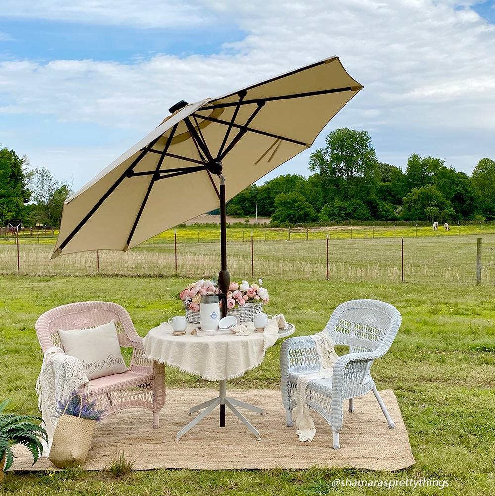 9 Feet Patio Umbrella with Solar Powered 64 LED Lights (Cover Included)
