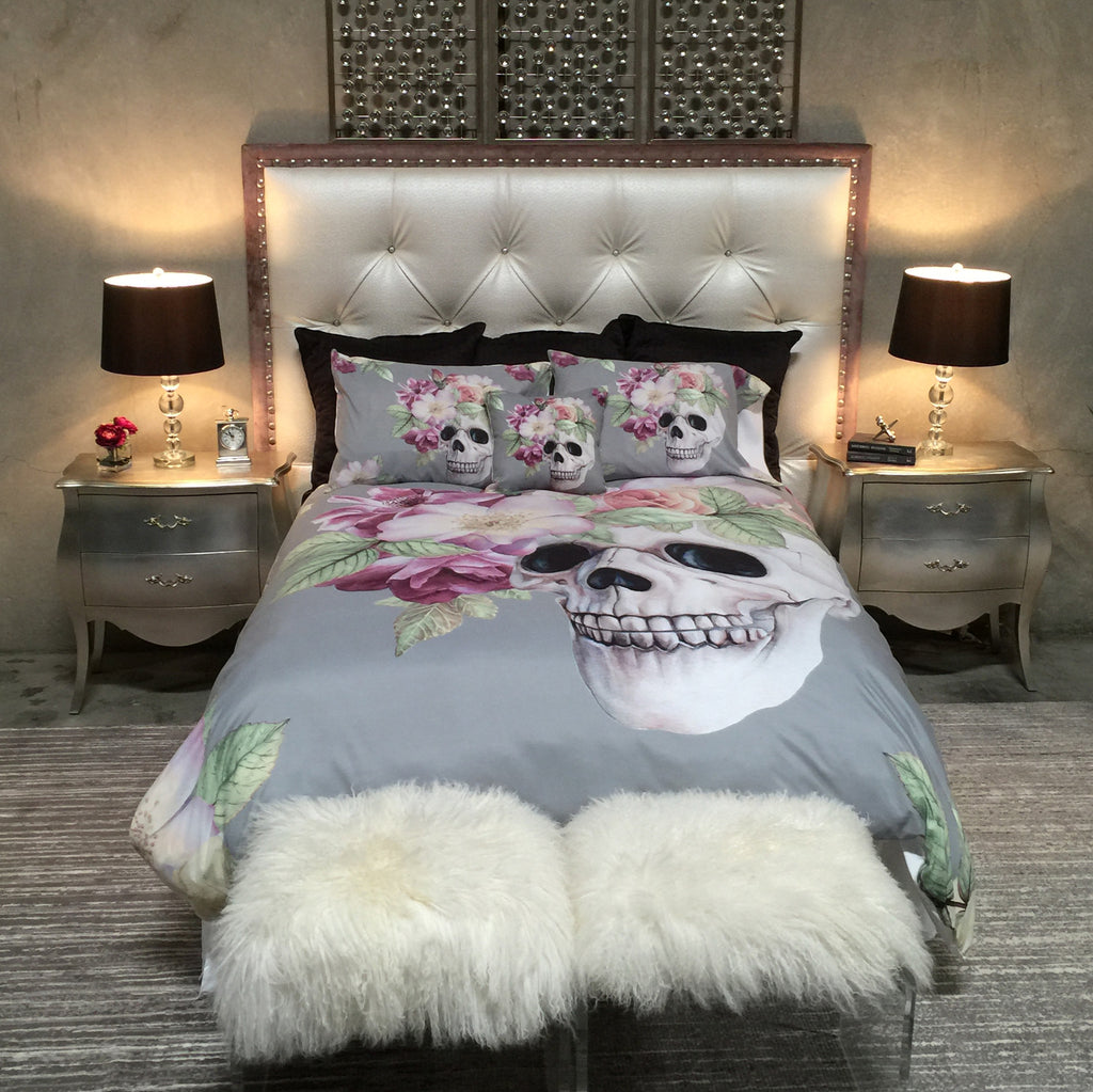 Grey Floral Crown Skull Bedding Collection