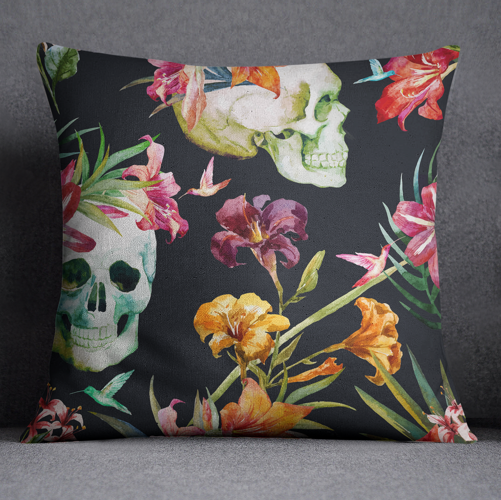 Watercolor Tropical Skull Floral Throw Pillow