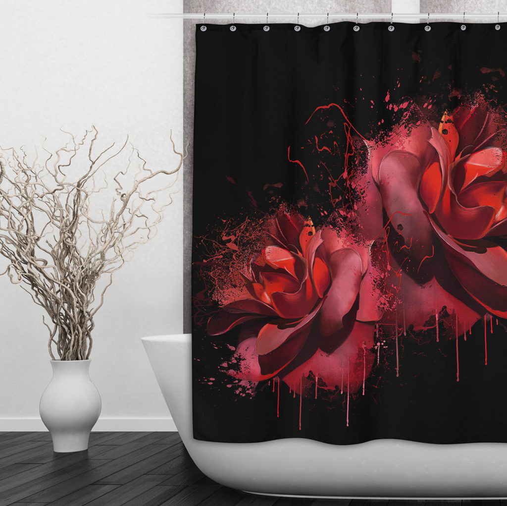 Bleeding Red Rose Shower Curtains and Optional Bath Mats