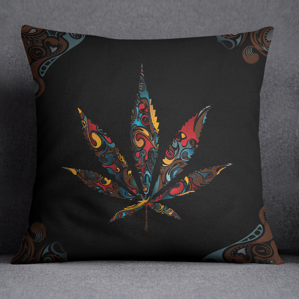 Black Smoke Leaf Cannabis Marijuana Throw Pillow