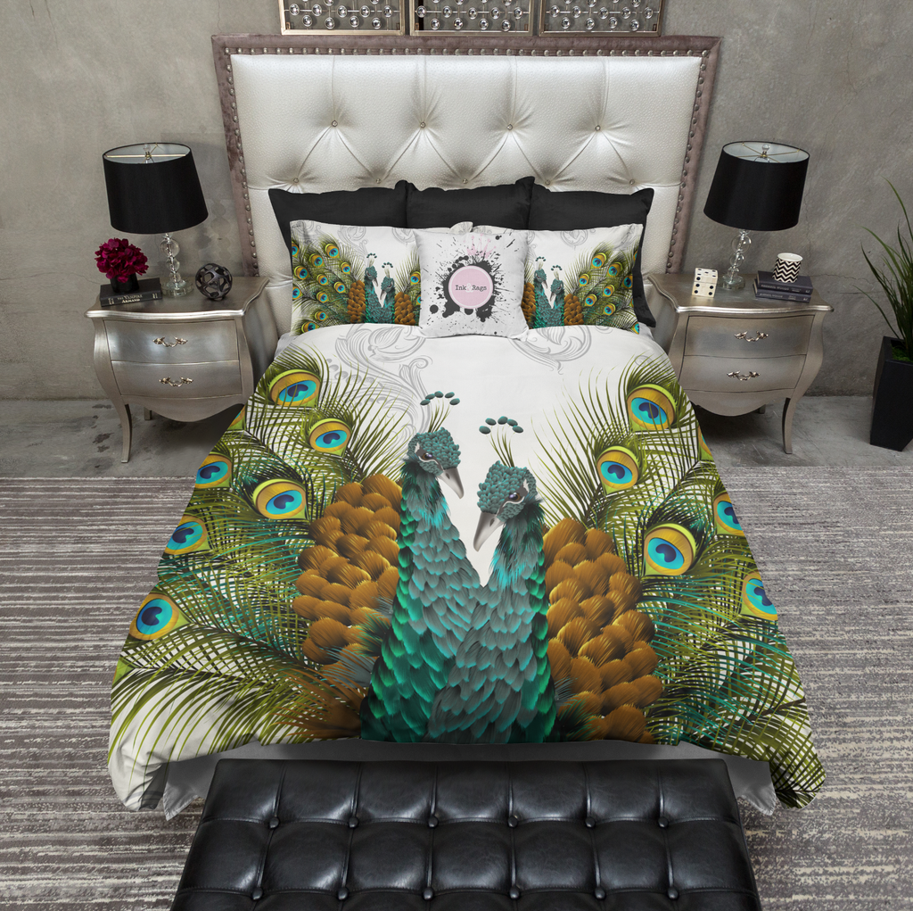 Twin Peacocks Off White Bedding Collection