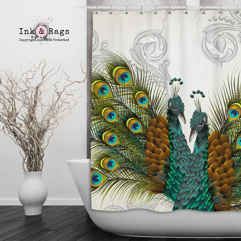 Twin Peacocks Off White Shower Curtains and Optional Bath Mats