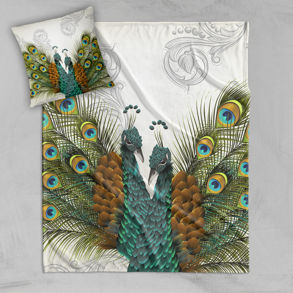 Twin Peacocks Off White Decorative Throw and Pillow Cover Set
