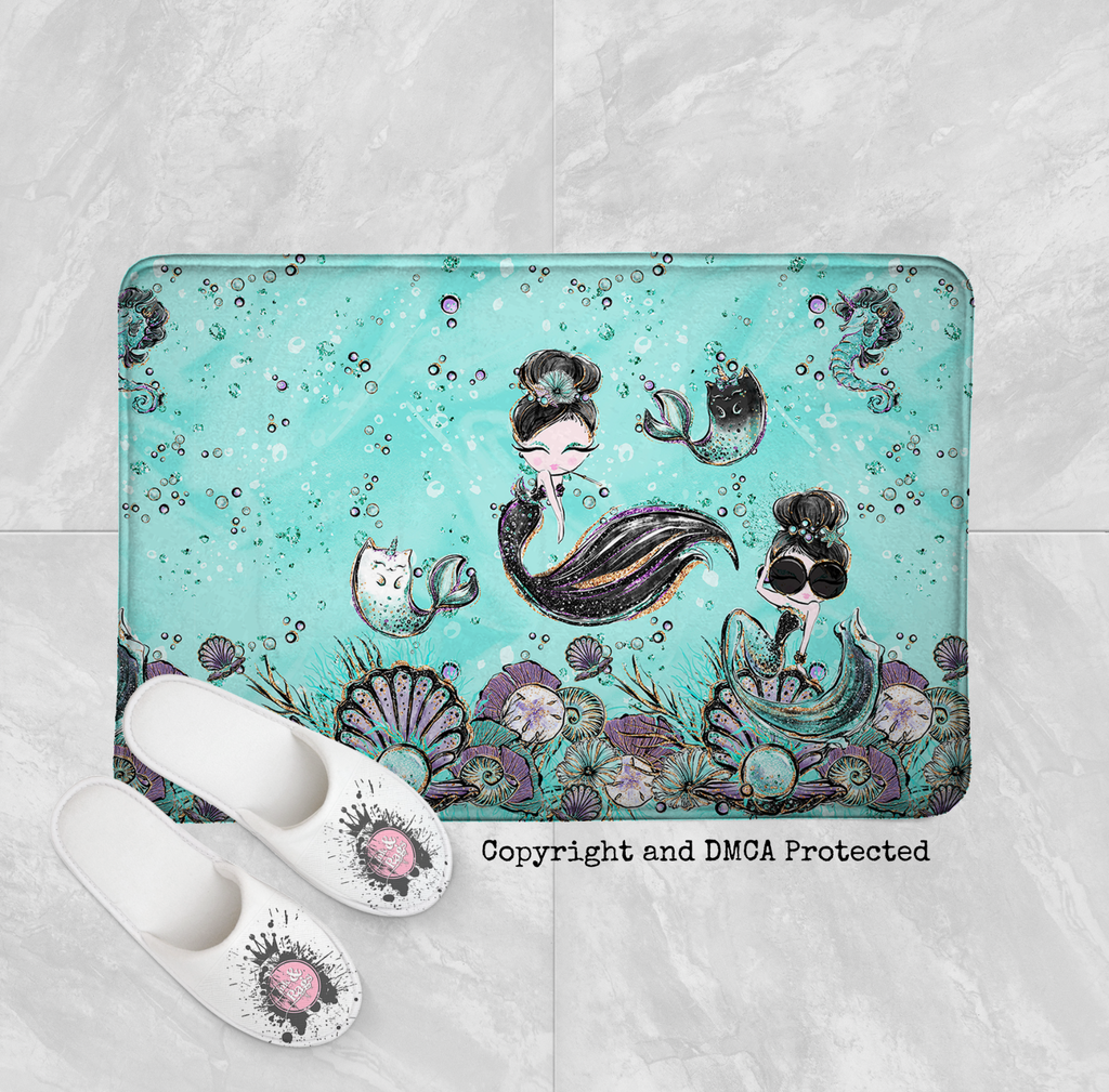 Audrey Hepburn Mermaid Sisters Mermicorn Shower Curtains and Optional Bath Mats