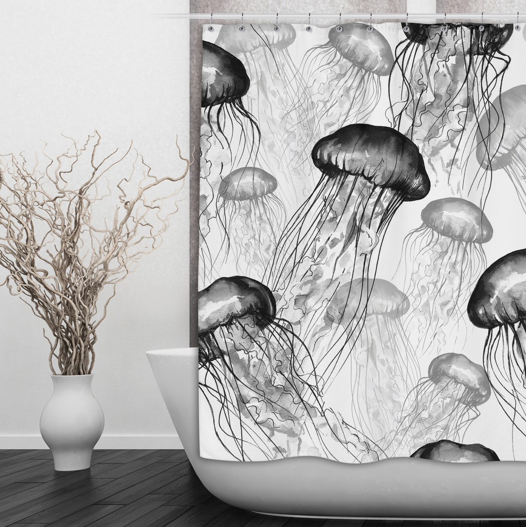 White and Black Jellyfish Shower Curtains and Optional Bath Mats