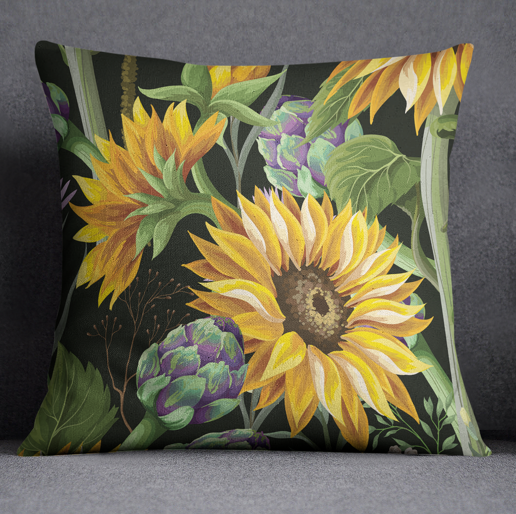 Sunflower and Artichoke on Black Decorative Throw and Pillow Cover Set