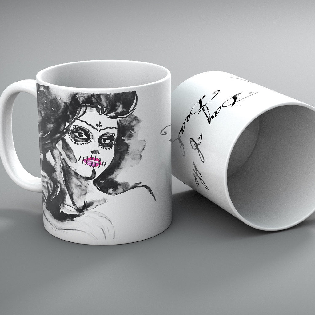Day of the Dead Painted Lady Mug Set of 2