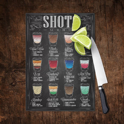 Bar SHOTS Recipe Cutting Boards - Black