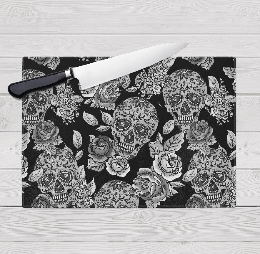 The Original Black Sugar Skull Cutting Boards