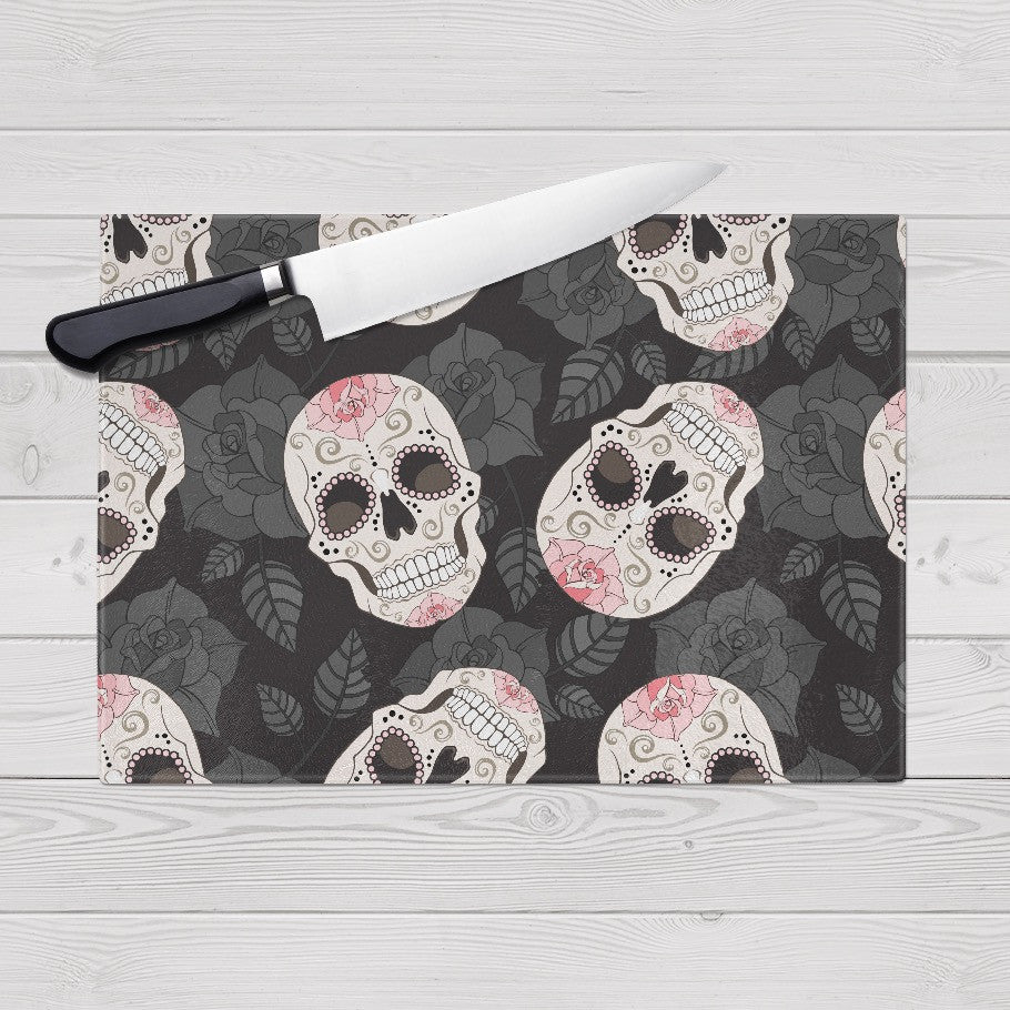 Pink and Black Rose Sugar Skull Cutting Boards