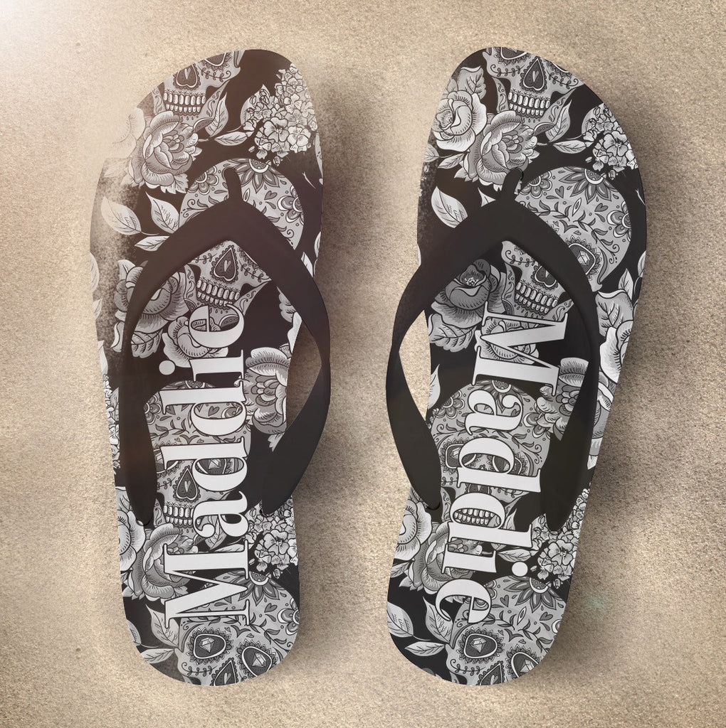 The Original Black Sugar Skull Sugar Skull Flip Flops