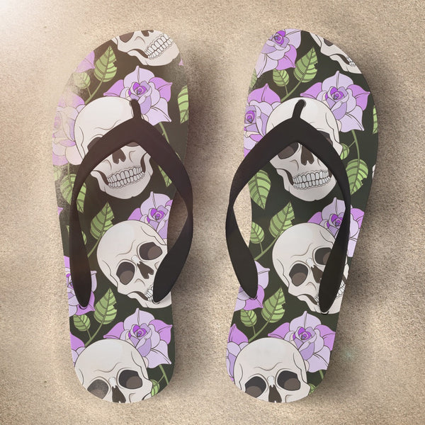 Skull Flip Flops with Purple Roses