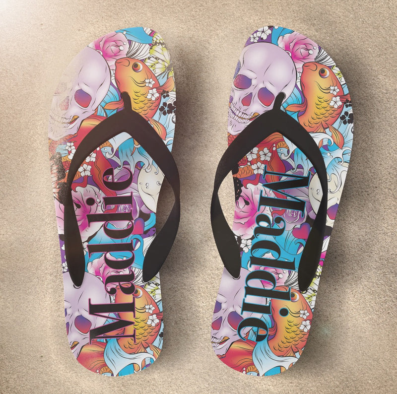 Colorful Skull Flip Flops with Tattoo Inspired Earth & Fire Elements