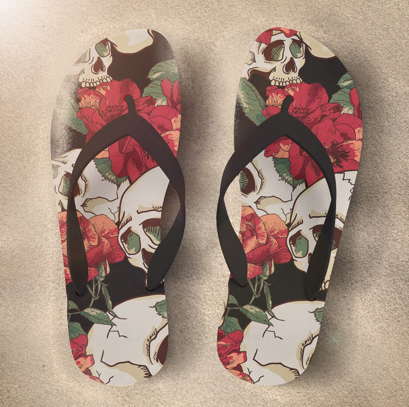 Skull Flip Flops with Sexy Red Flowers
