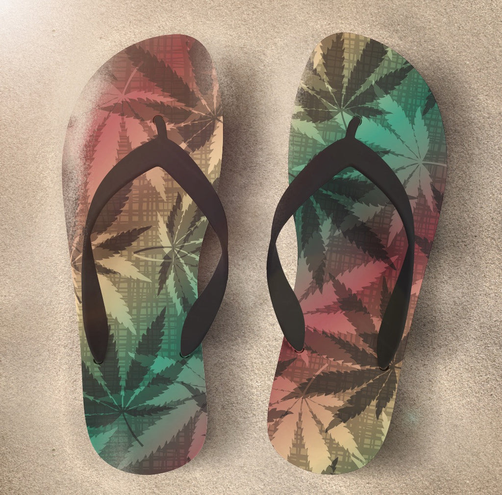 Cannabis Marijuana Style Flip Flop in Rasta Colors