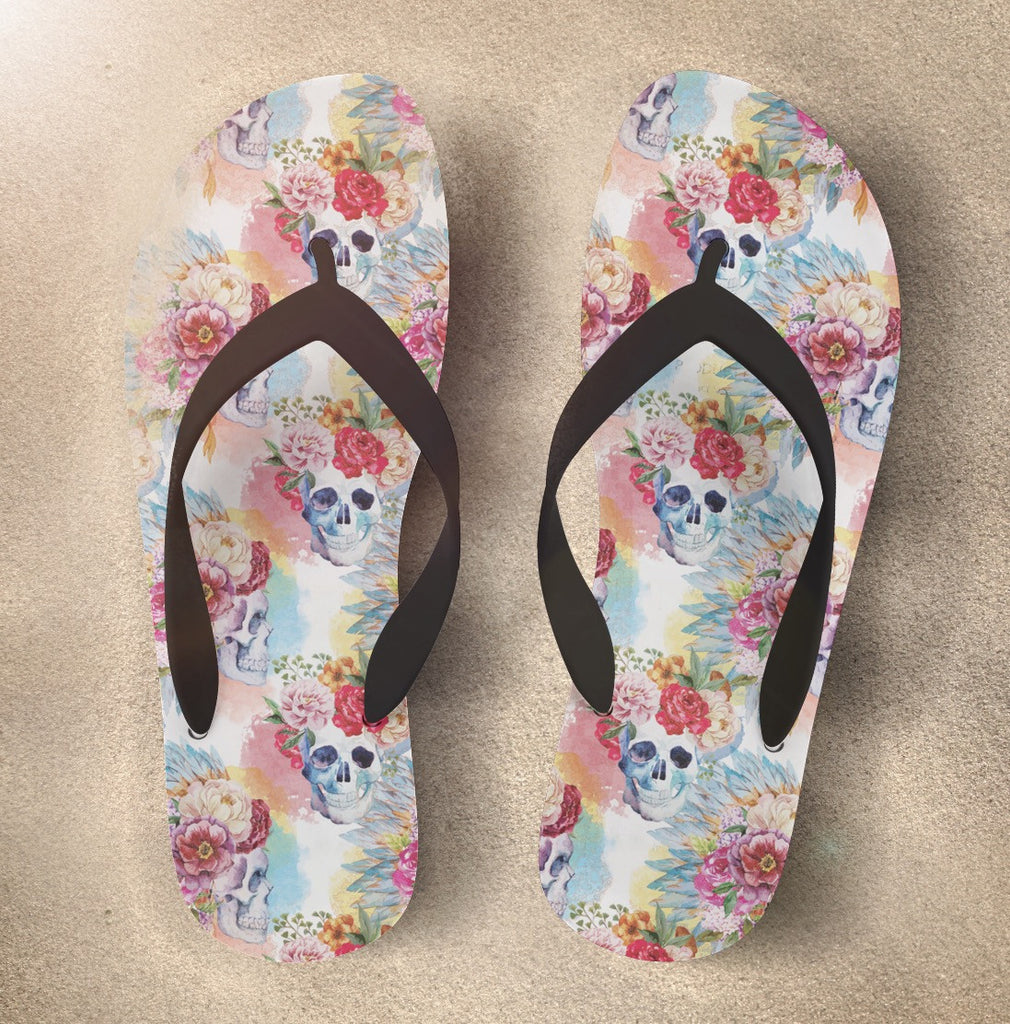 Watercolor Skull Flip Flops with Flower and Native American Indian Headdress
