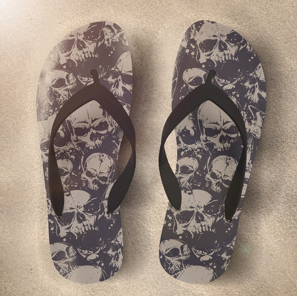 Skull Flip Flops with Black and Tan Grunge Skulls