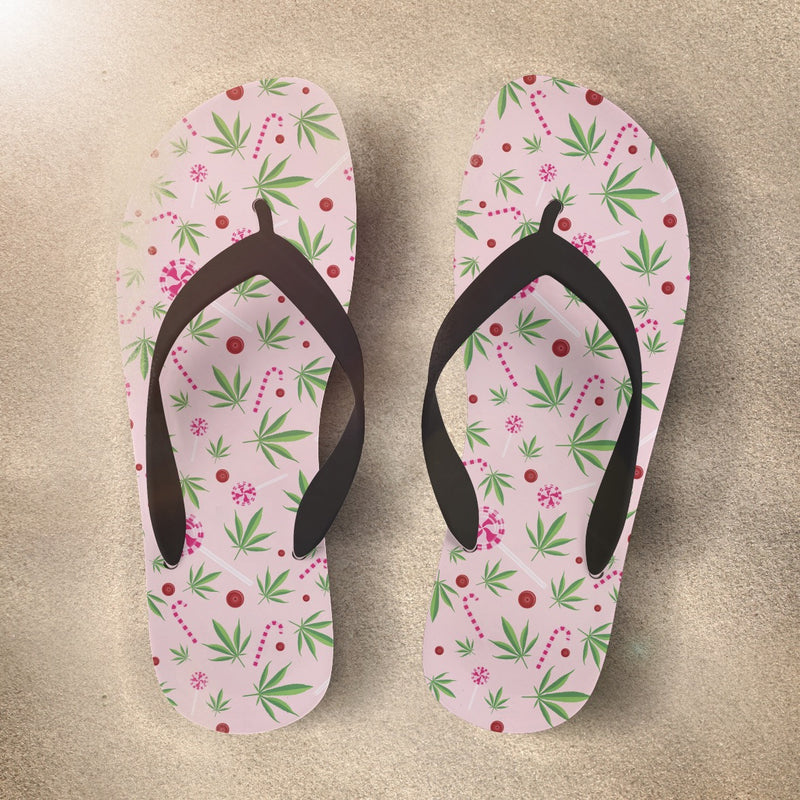 Pink Cannabis Flip Flop with Marijuana Edibles