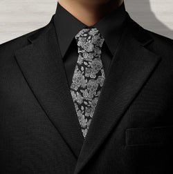 Ink & Rags Signature Black Sugar Skull Necktie
