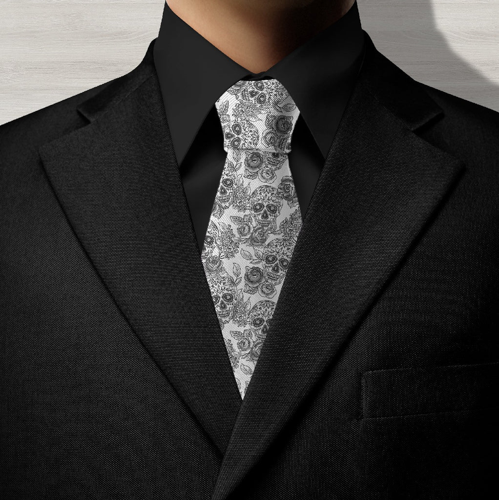 Ink & Rags Signature White Sugar Skull Necktie