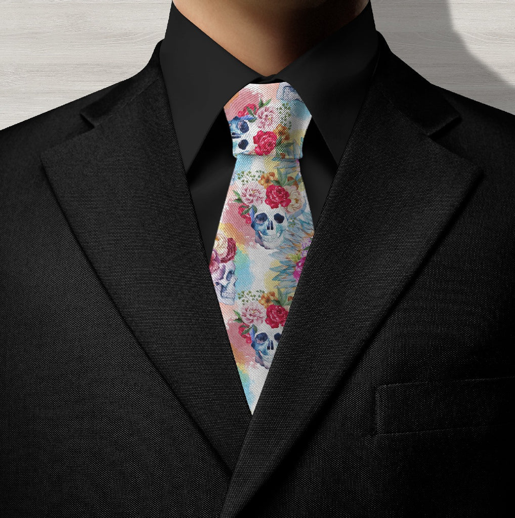 Watercolor Skull Necktie