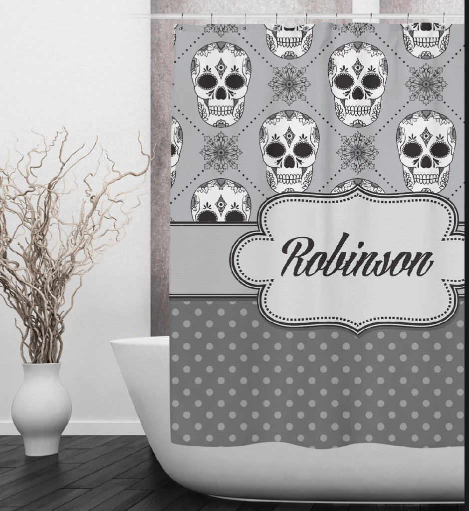 Personalized Skull Shower Curtains and Optional Bath Mats