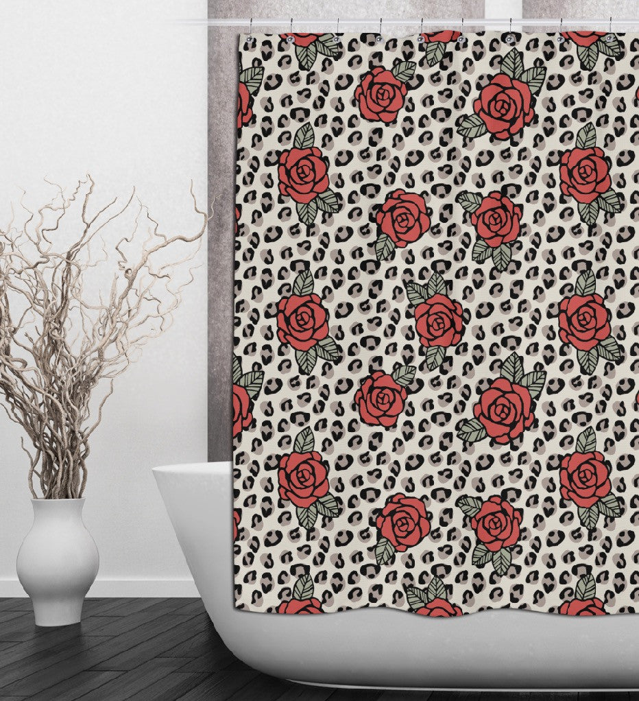 Rockabilly Rose and Leopard Shower Curtains and Optional Bath Mats