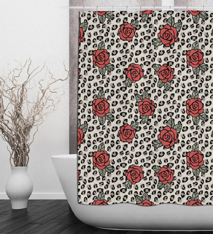 Rockabilly Rose and Leopard Shower Curtain