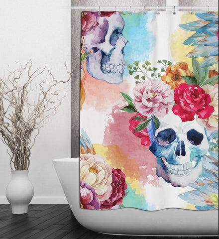 Bright Watercolor Skull & Flower Shower Curtain