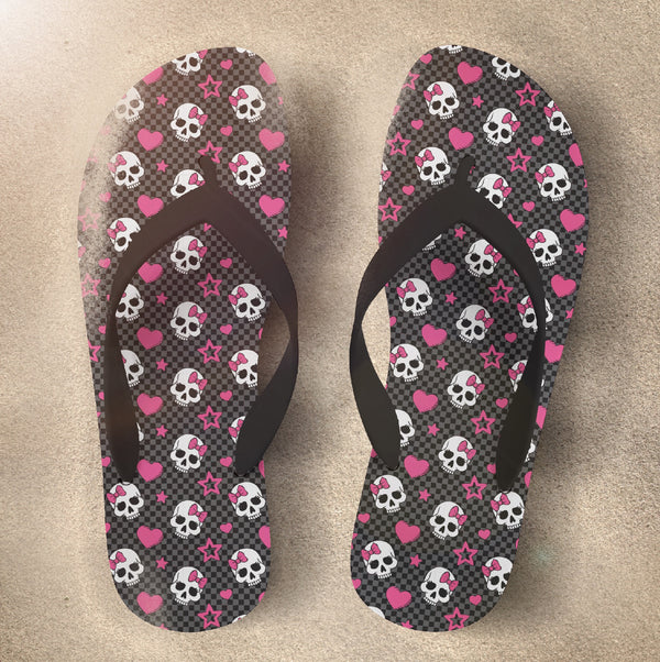 Checkerboard Candy Skull Flip Flops with Hot Pink Bows and Hearts