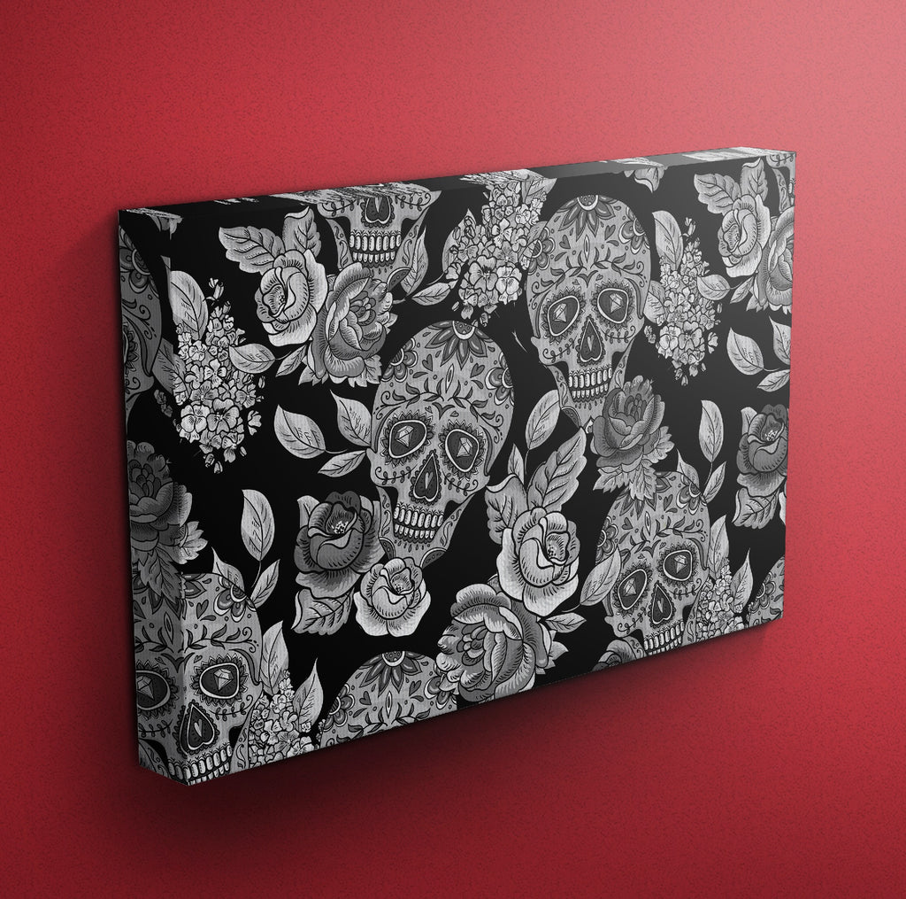 The Original Black Sugar Skull Gallery Wrapped Canvas