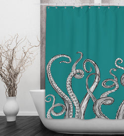 Teal Octopus Tentacle Shower Curtains And Bath Mats Ink And Rags