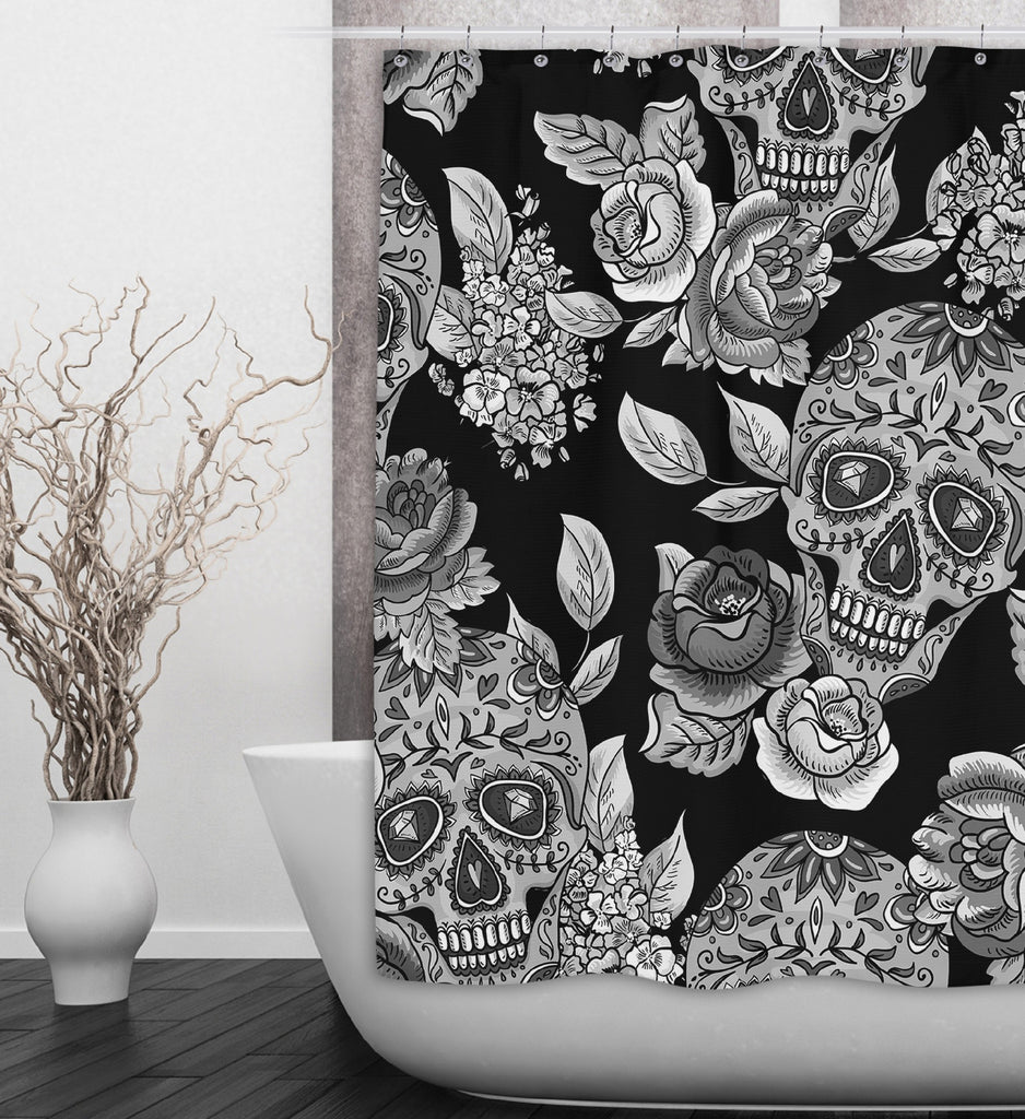 The Original Sugar Skull Black Shower Curtains and Optional Bath Mats