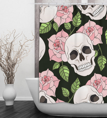 Pink Rose Skull Shower Curtain