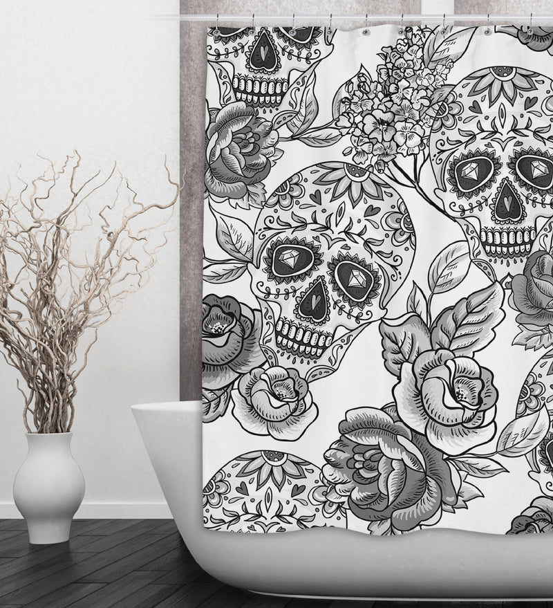 White Signature Sugar Skull Shower Curtains and Bath Mats