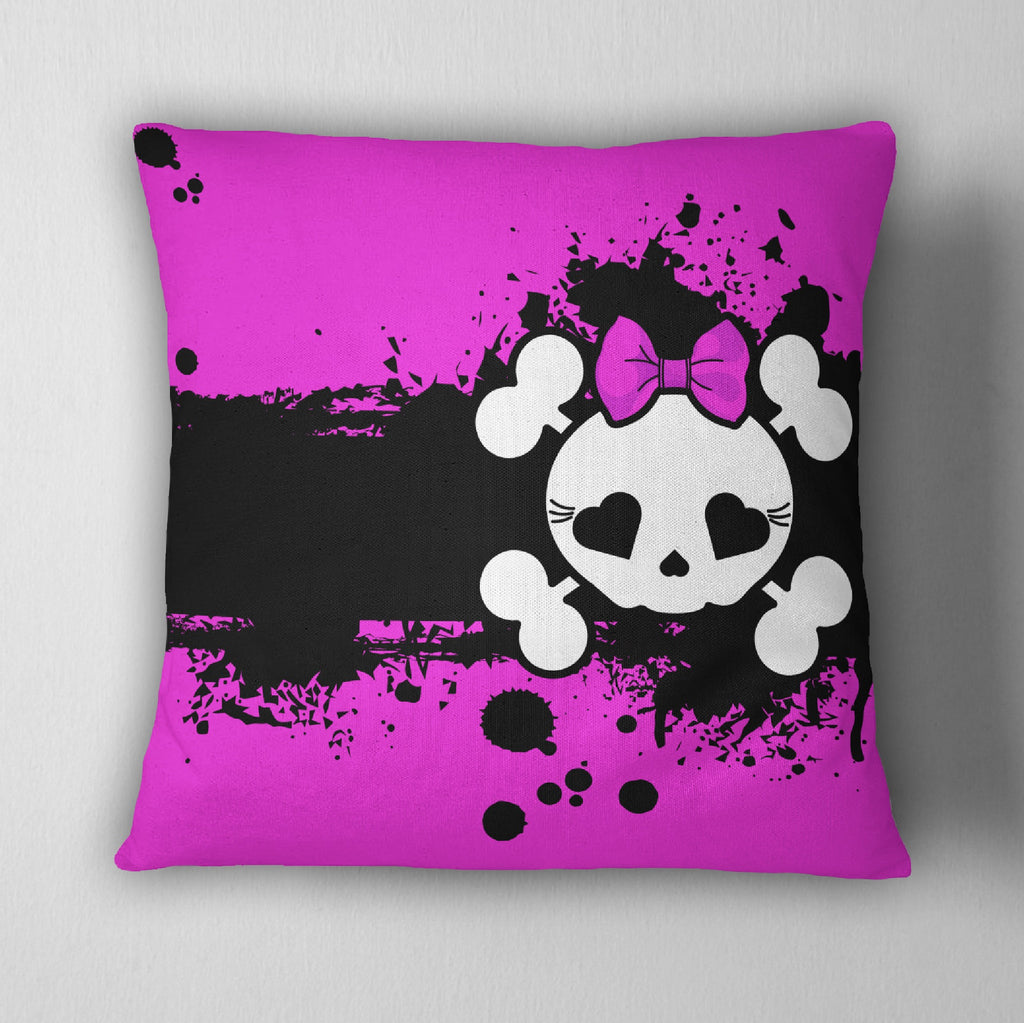 Hot Pink & Black Candy Skull Throw Pillow