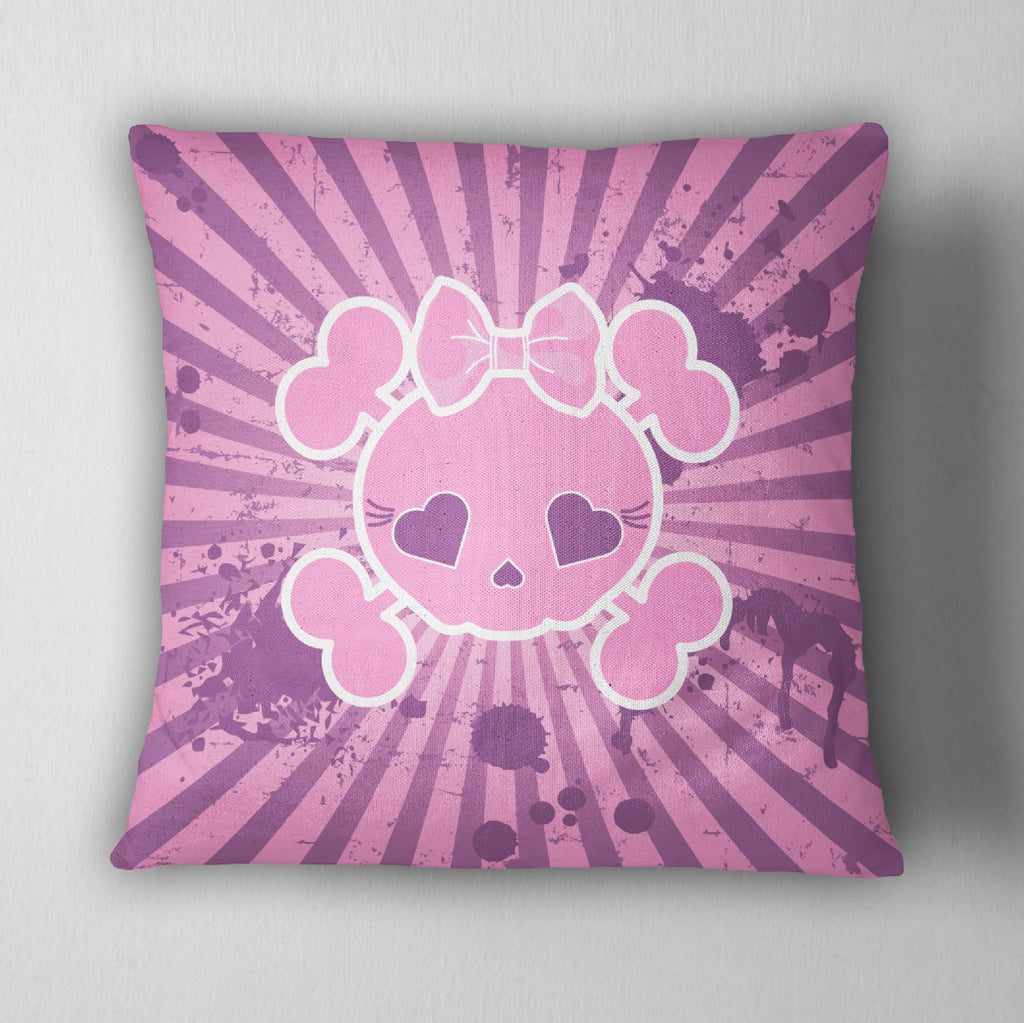 Candy Skull Pink and Purple Grunge Throw Pillow