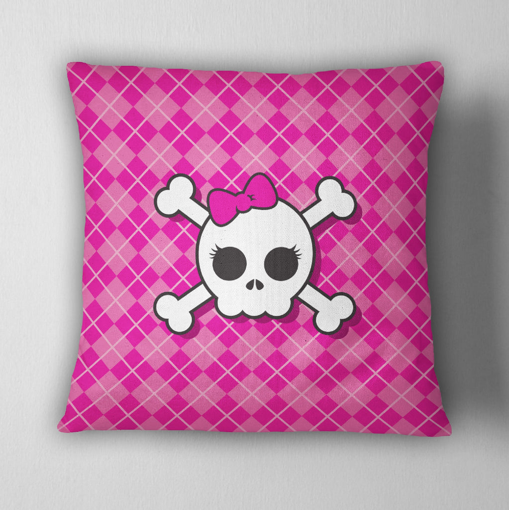 Hot Pink Plaid Candy Skull Decorative Throw Pillow