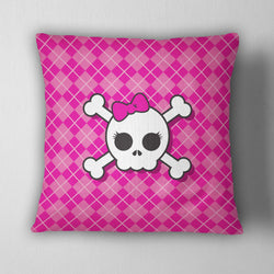Hot Pink Argyle Plaid with Candy Skull Decorative Throw Pillow Cover