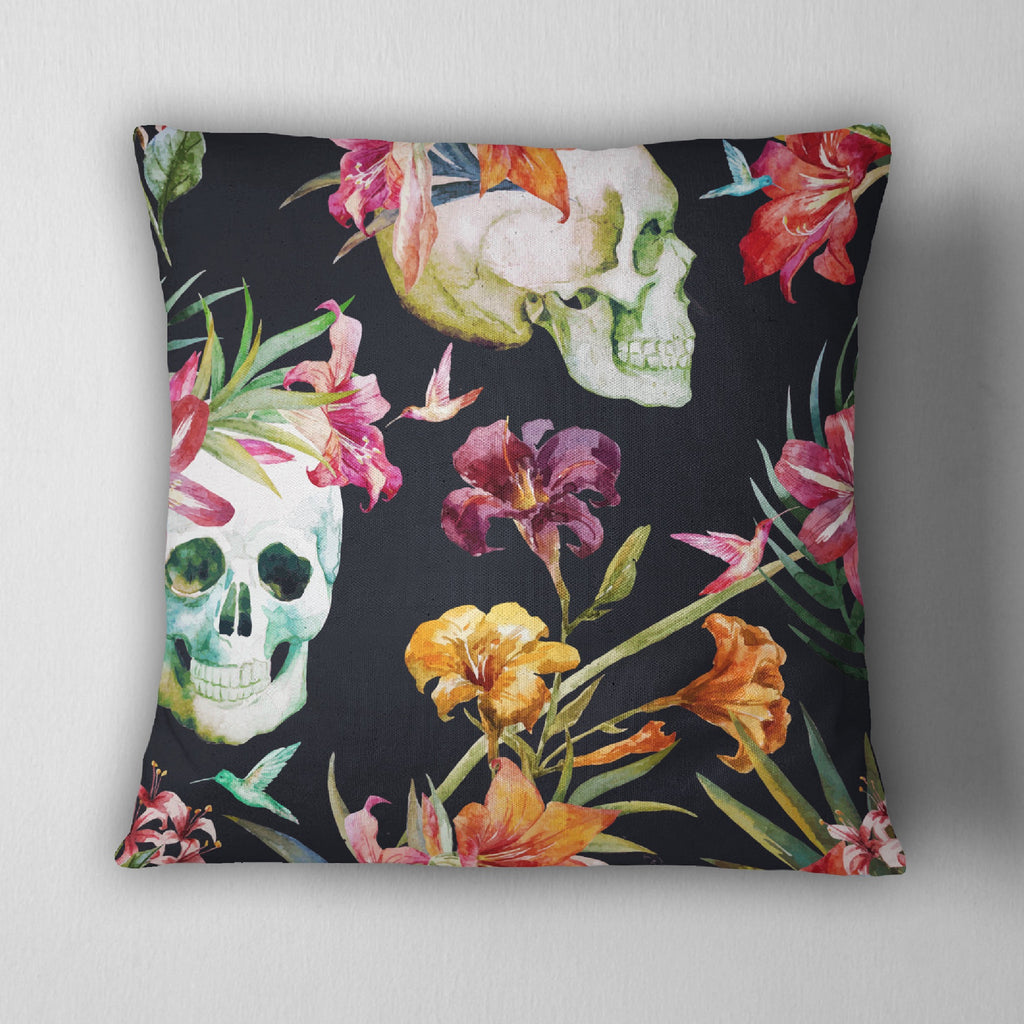Watercolor Skull Floral Decorative Throw Pillow