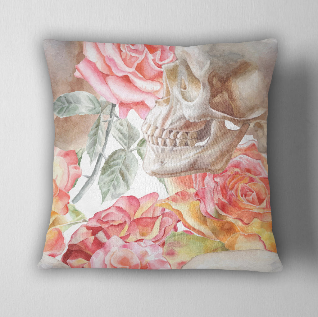 Pink & Orange Rose Watercolor Skull Decorative Throw Pillow Cover