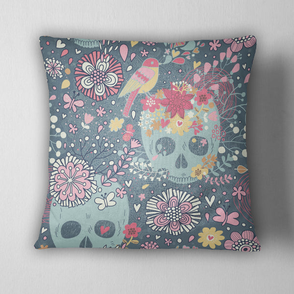 Woodland Flower Skull Decorative Throw Pillow Ink And Rags