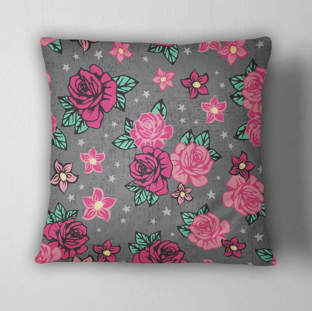 Rockabilly Flower Decorative Throw Pillow Cover