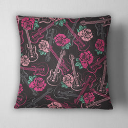 Rockabilly Guitar Rose Decorative Throw Pillow Cover