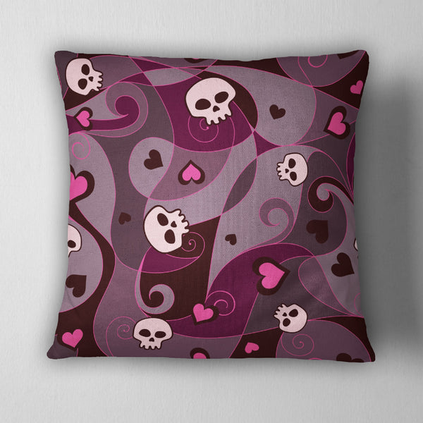 Fantasy Skull Amp Heart Decorative Throw Pillow Ink And Rags